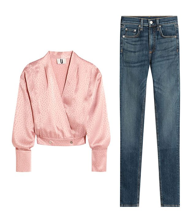 Shop: Topshop Unique Silk-Jacquard Wrap Blouse ($230); Rag & Bone Skinny Jeans ($125).