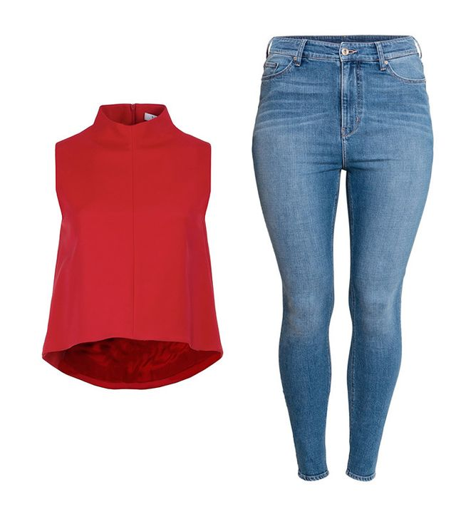 Shop: Tibi Stretch Falle Funnel Neck Top ($295); H&M+ Skinny High Jeans ($50).