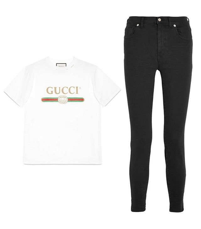 Shop: Gucci Print Cotton T-Shirt ($590); Madewell High-Rise Skinny Jeans ($125).