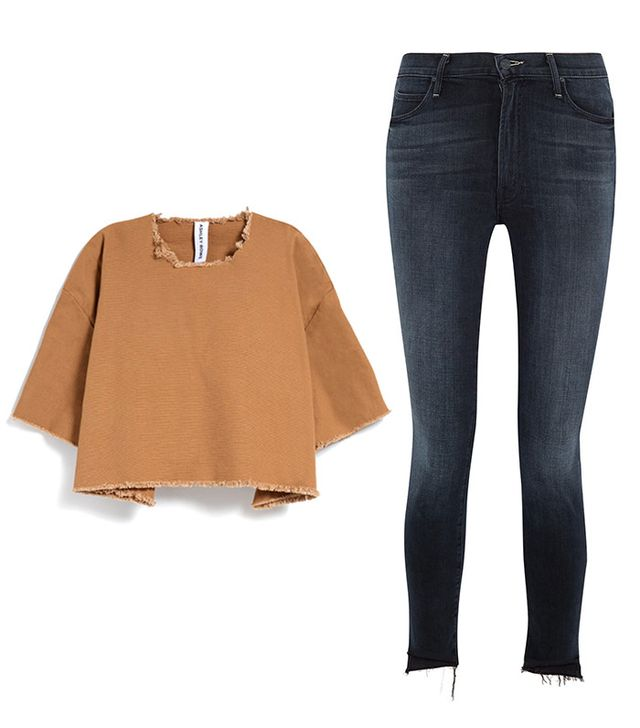 Shop: Ashley Rowe Tee Shirt in Tan ($145); Mother The Stunner Frayed High-Rise Skinny Jeans ($230).