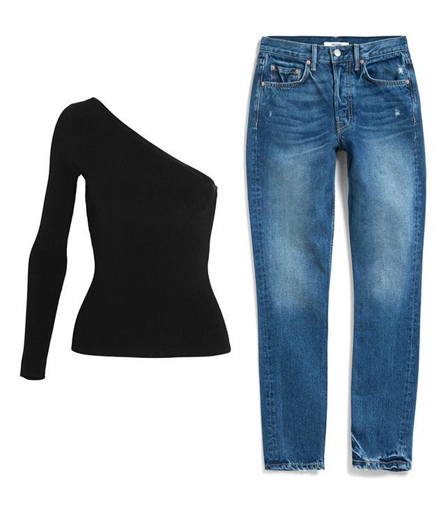 Shop: Elizabeth and James Amanda Top ($295); Grlfrnd Karolina High-Rise Skinny Jeans ($210). Heads-up: One-shoulder is the new off-the-shoulder.
