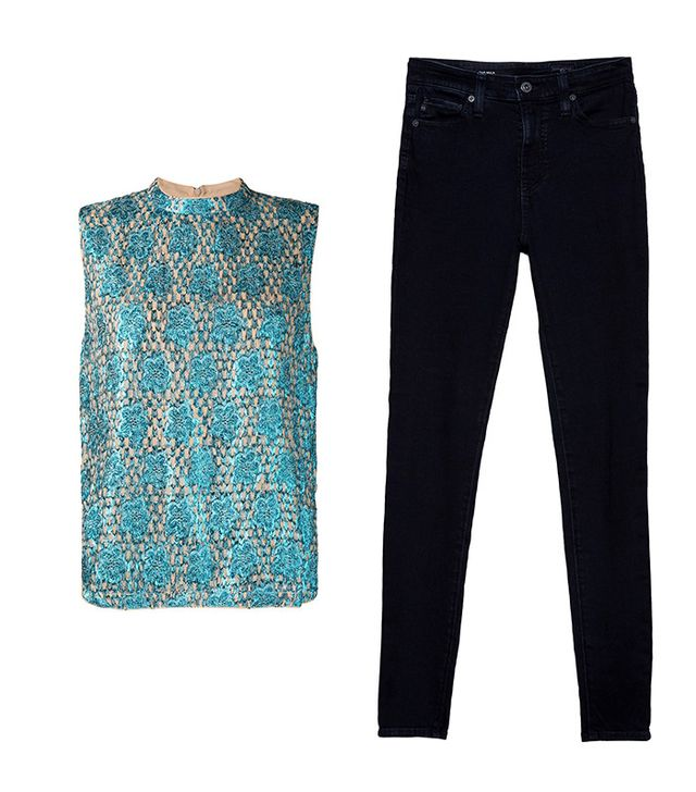 Shop: Ganni Emiko Metallic Jacquard Top ($111); AG The Mila Skinny Jeans in Overdye Blue ($188).