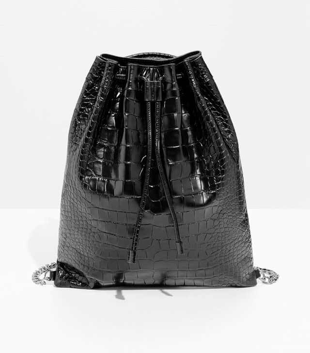 & Other Stories Leather Croco Backpack