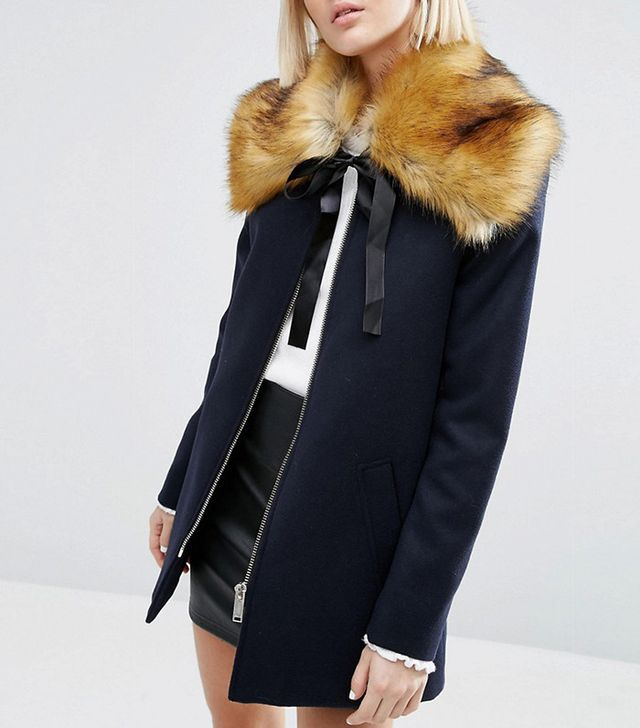 ASOS Faux-Fur Ginger Tipped Collar With Ribbon Ties