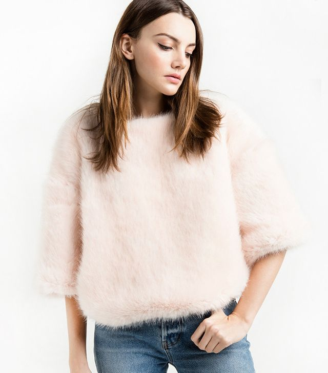 Pixie Market Faux-Fur Chunky Pale Pink Top