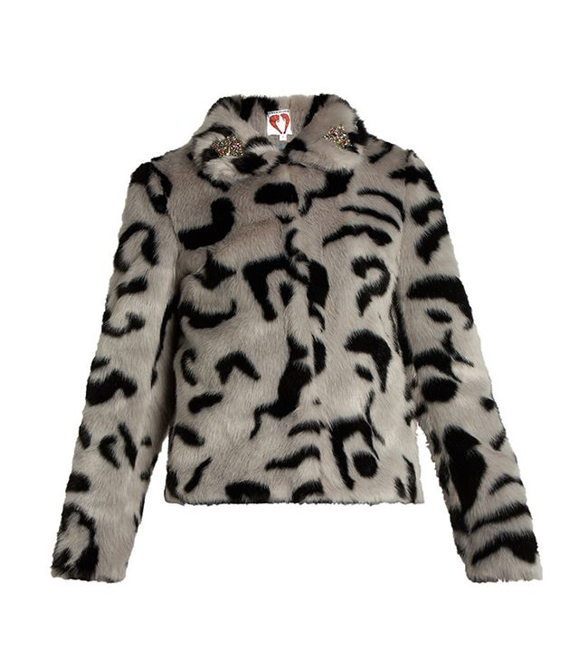 Shrimps Bingo Embellished Faux-Fur Jacket