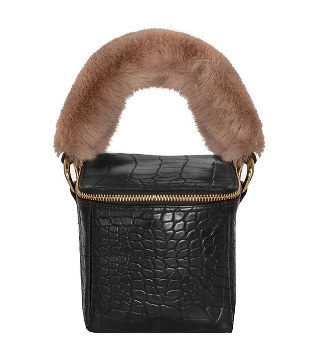 Pixie Market Black-Croc Fur-Handle Boxy Bag
