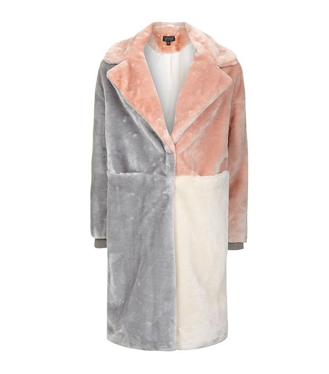 Topshop Patchwork Faux-Fur Coat