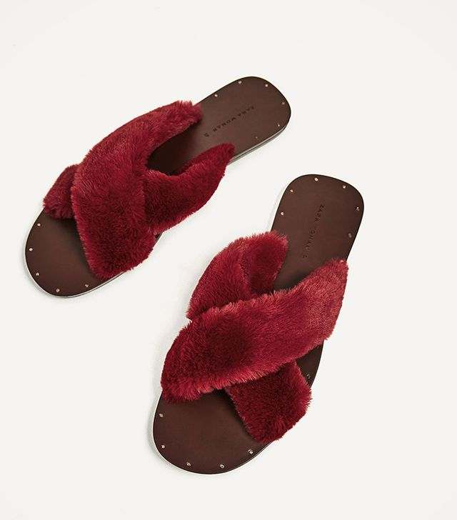 Zara Furry Criss-Cross Slides