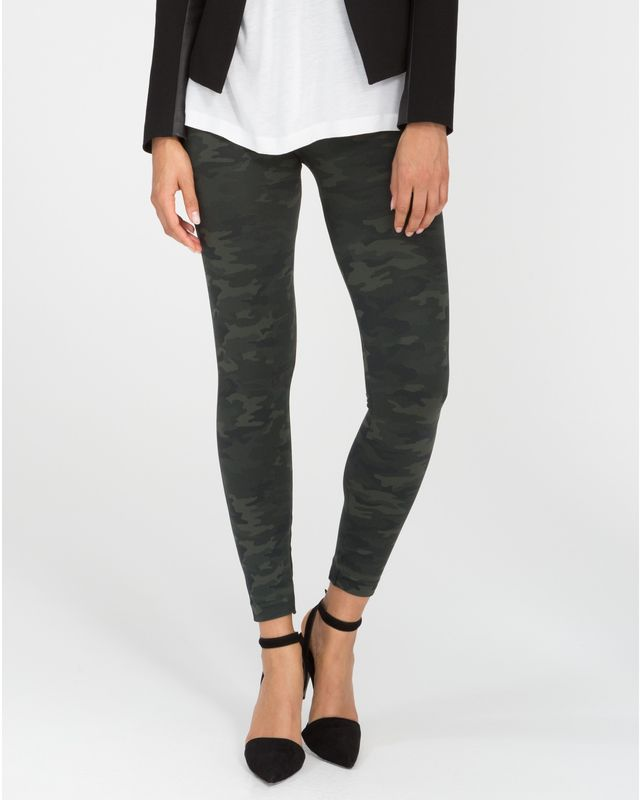 Spanx Look at Me Now Green Camo Seamless Leggings