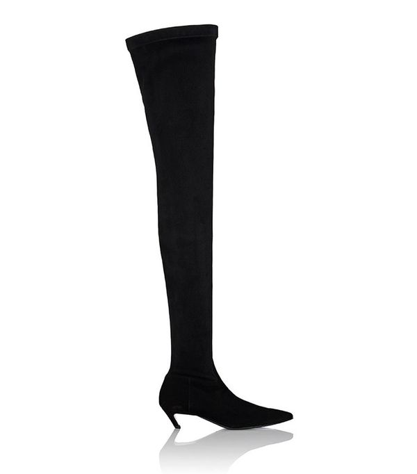 Balenciaga Broken-Heel Suede Over-The-Knee Boots