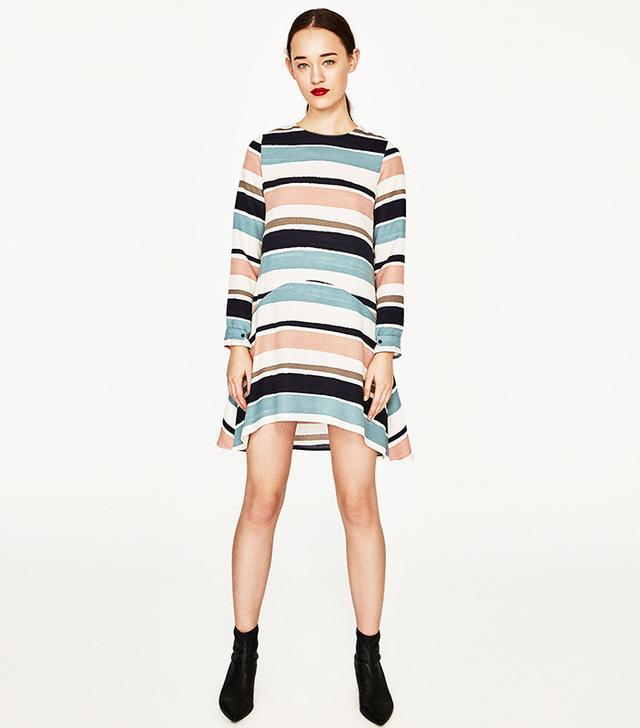Zara Striped Flounce Dress