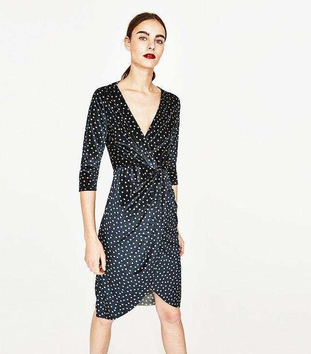 Zara Polka Dot Dress With Crossover Neckline