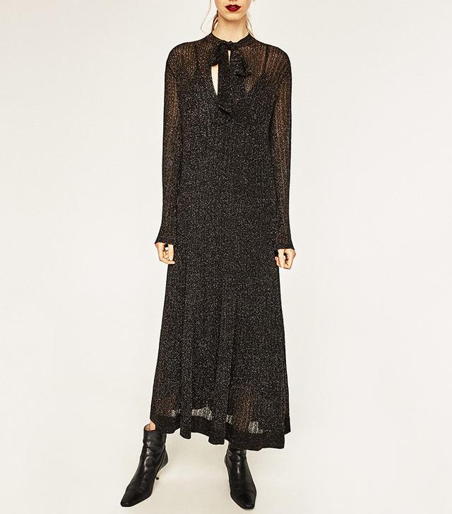 Zara Long Metallic Dress