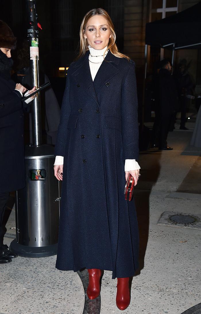 Olivia Palermo wearing burgundy boots Paris