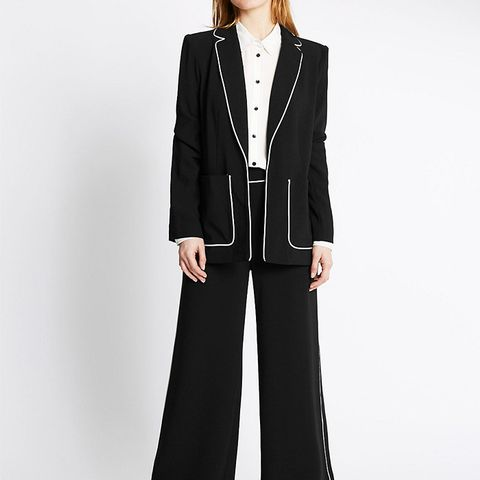 Contrast Piped Jacket and Trousers Set