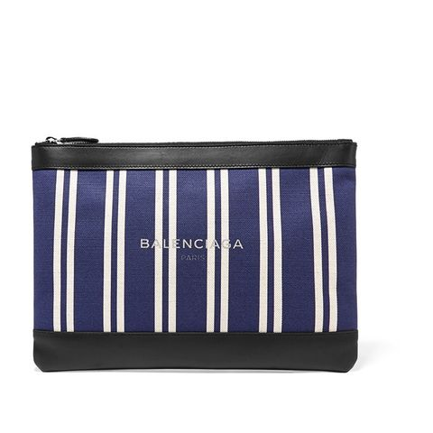 Striped Leather Trim Pouch