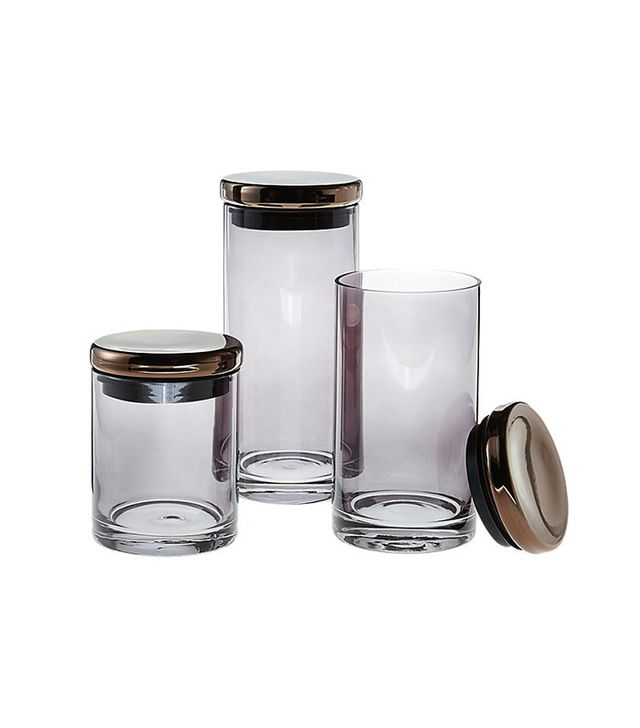 CB2 3-Piece Coltrane Smoke Grey Canisters