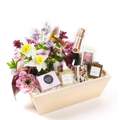 Midnight Beauty Gift Box With Flowers and Rosé Champagne