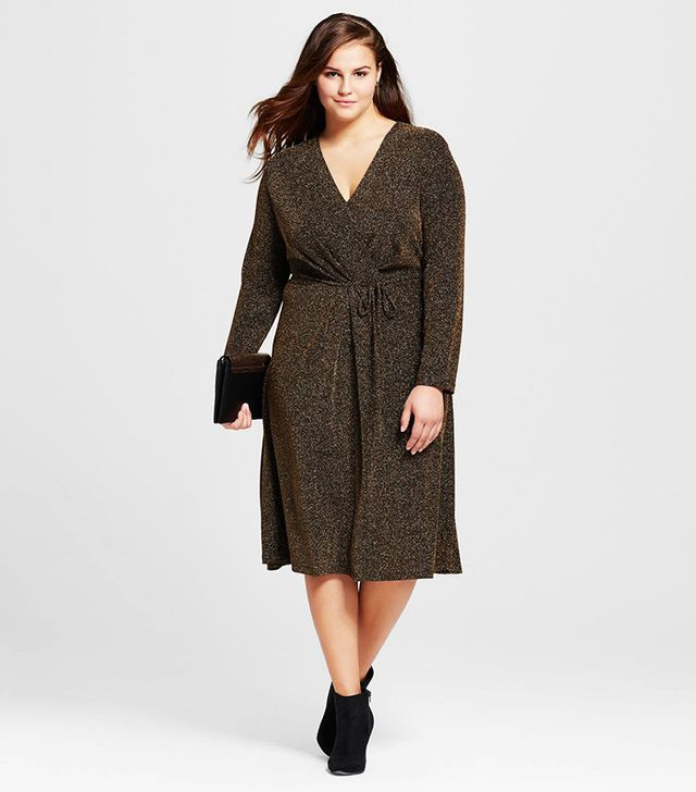 Who What Wear Plus Size Cross-Over Midi Dress