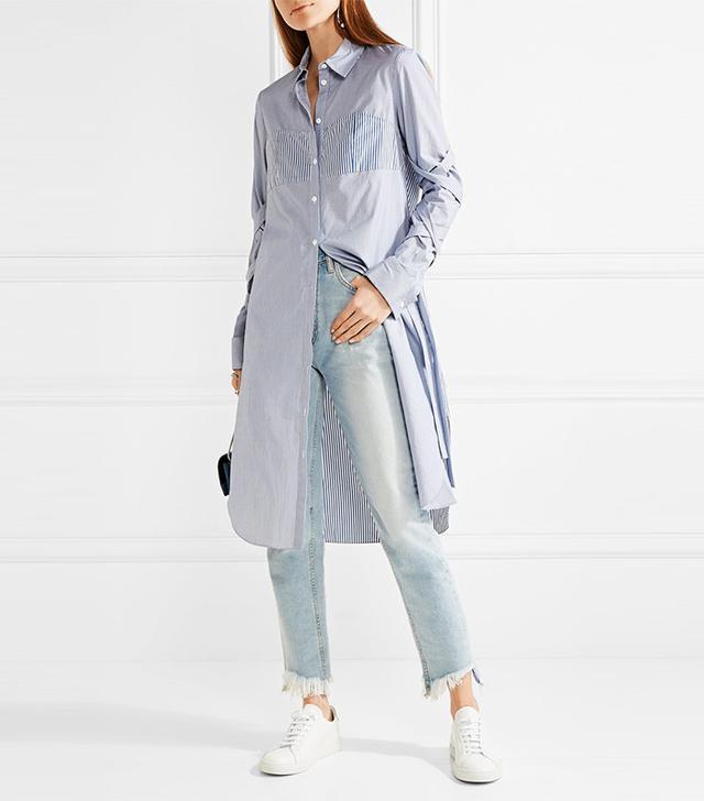 Tibi Striped Cotton-Poplin Dress