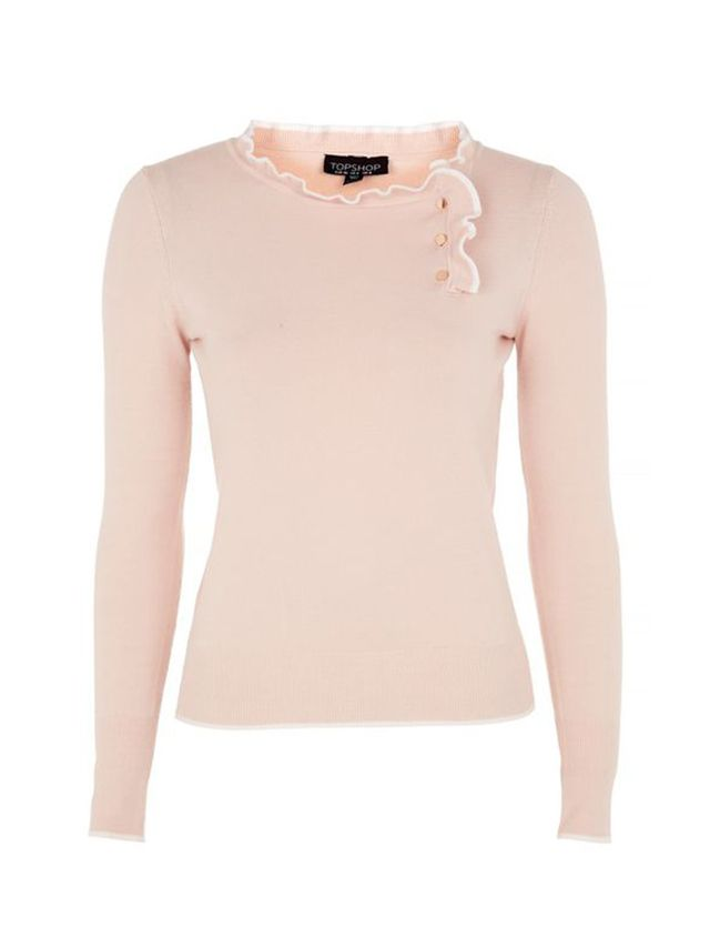 Topshop Tipped Button Frill Knitted Top
