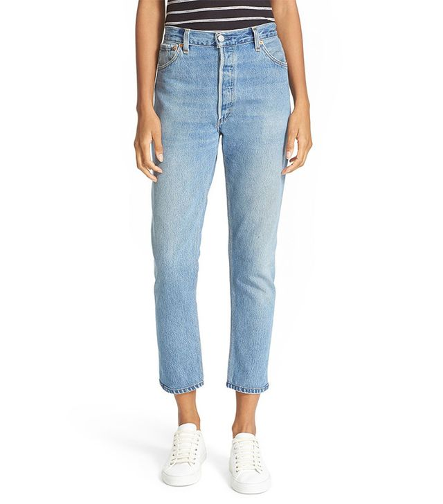 Re/Done Reconstructed High Rise Ankle Crop Jeans