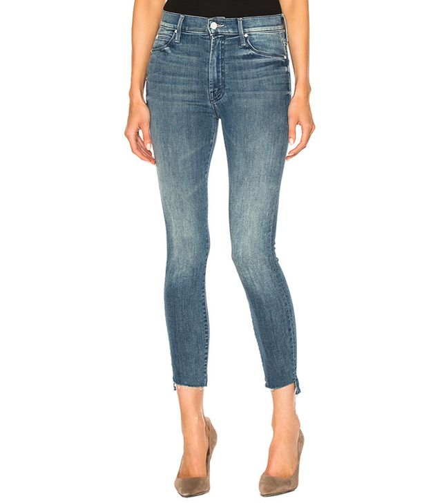 Mother Crop Fray Skinny Jeans