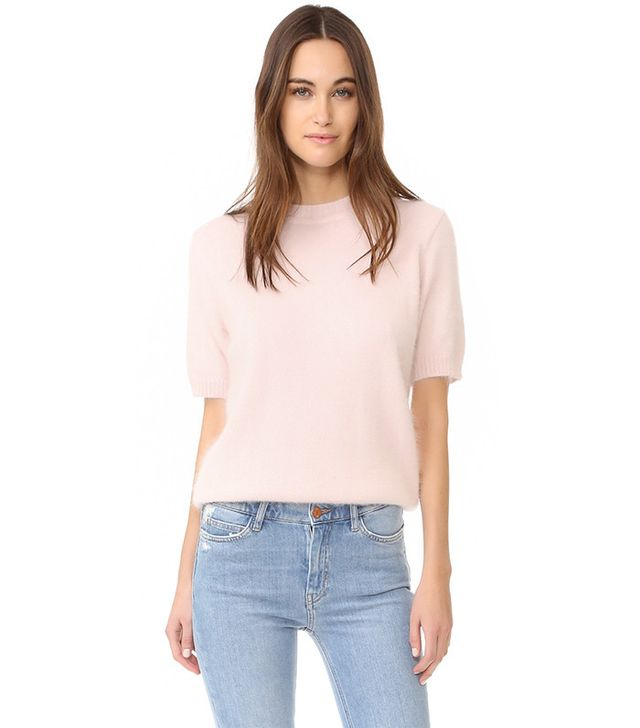 Anine Bing Short-Sleeve Angora Sweater
