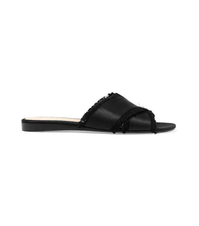 Gianvito Rossi Frayed Satin Slides