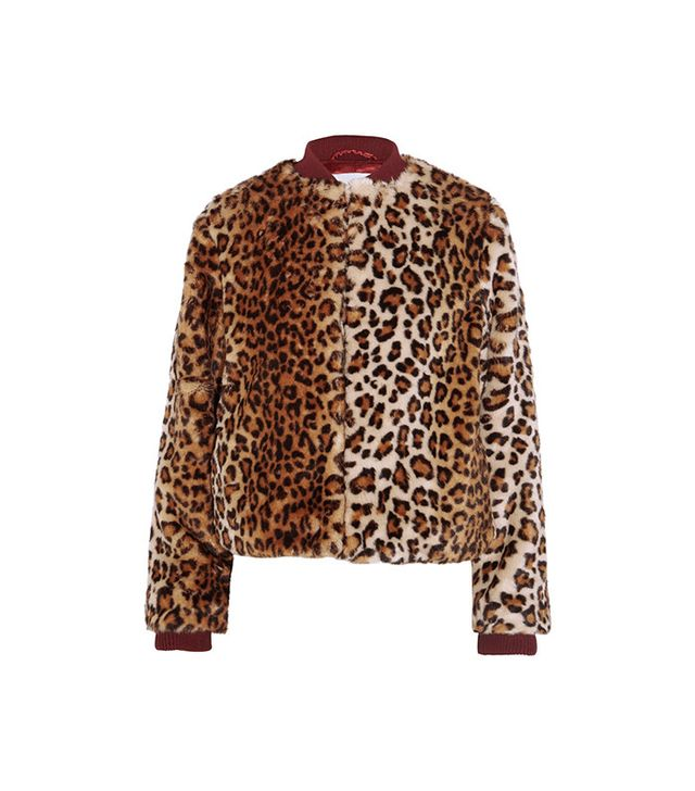 Ganni Ferris Leopard-Print Faux-Fur Bomber Jacket