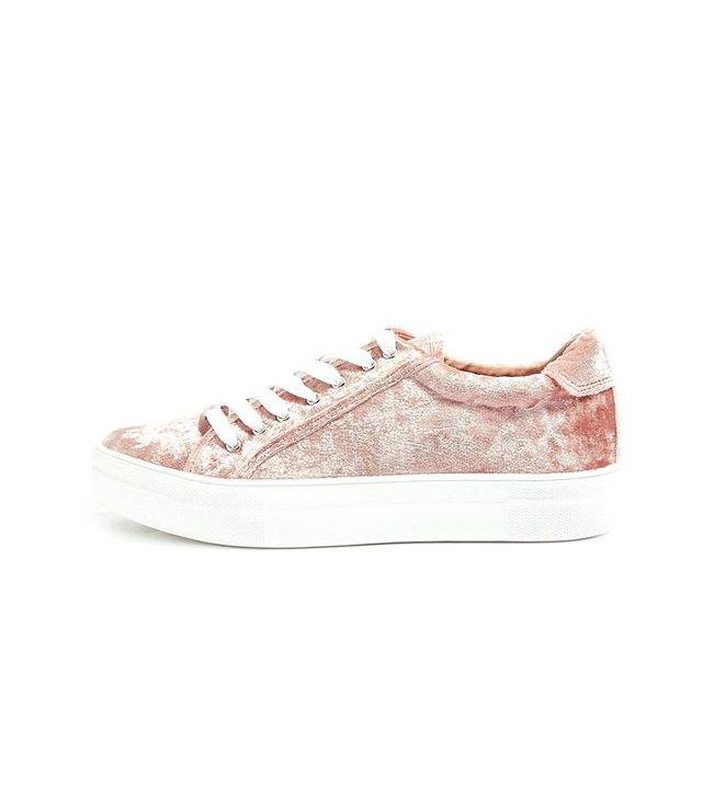 Topshop Crystal Flatform Lace-Up Trainers