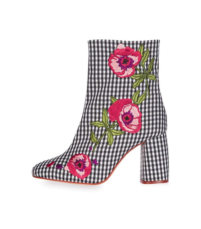 Topshop Madame Embroidery Ankle Boots