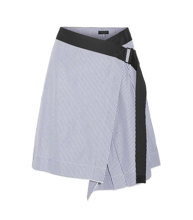 Rag & Bone Lenna striped cotton and silk-blend wrap skirt