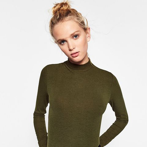 Ribbed Funnel-Neck Top