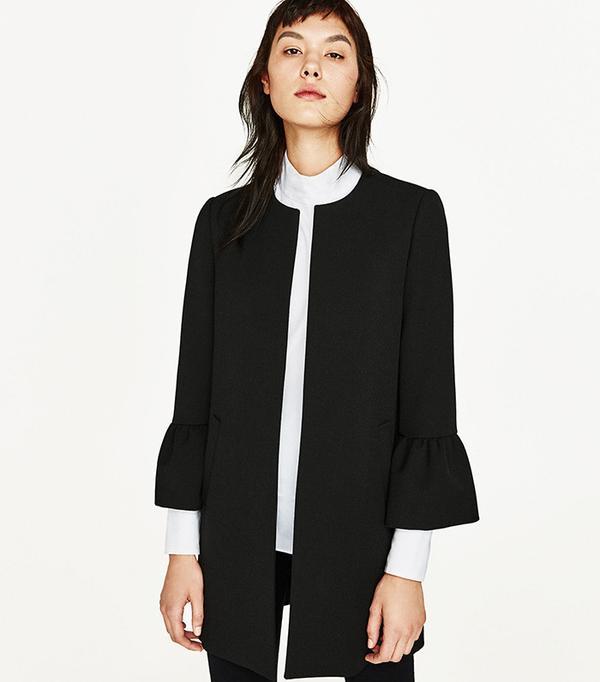 Zara Frilled-Sleeve Coat