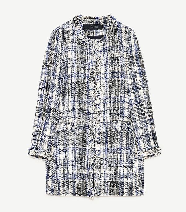 Zara Frayed Checked Frock Coat
