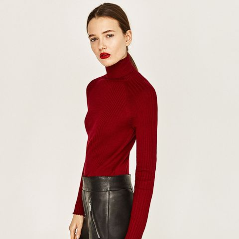 Ribbed High-Collar Sweater