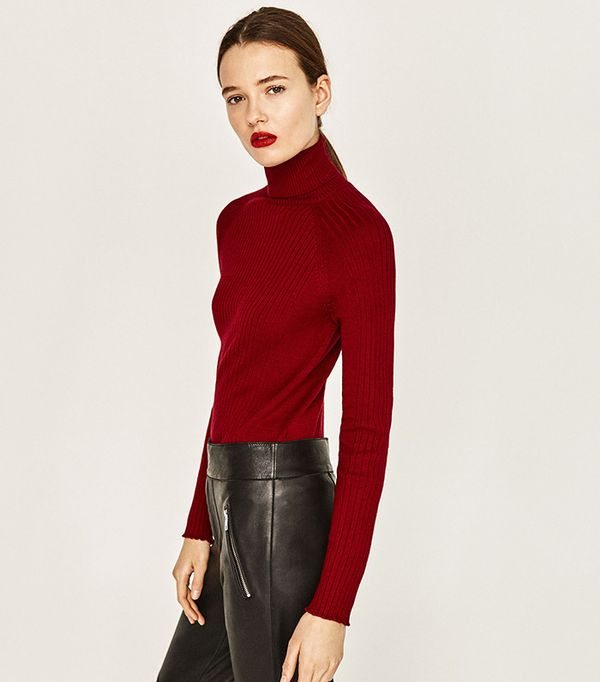 Zara Ribbed High-Collar Sweater