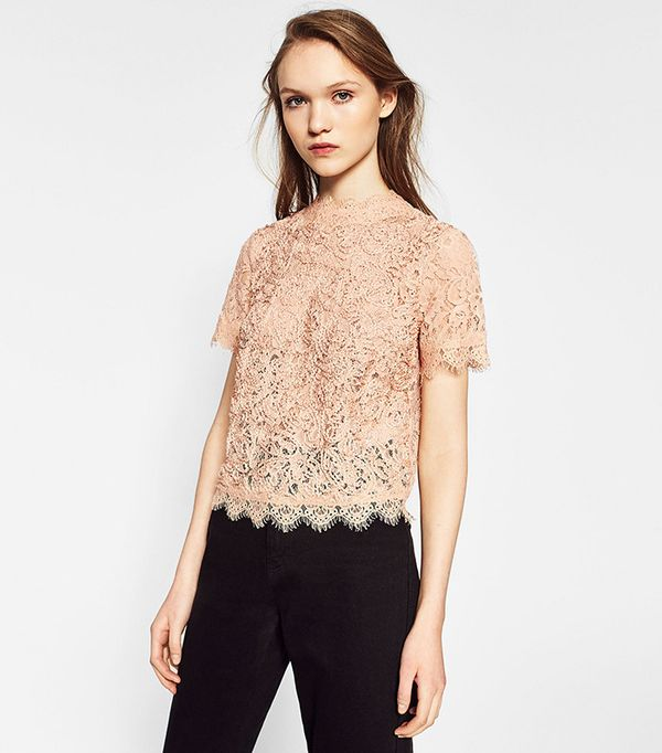 Zara Embroidered Lace T-Shirt