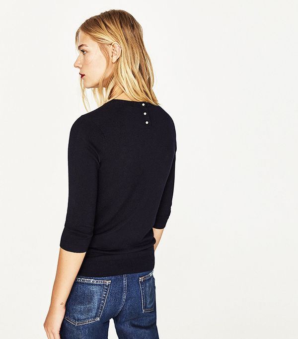 Zara Sweater With Pearly Back