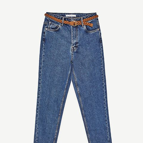 High-Rise Mom-Fit Jeans With Belt