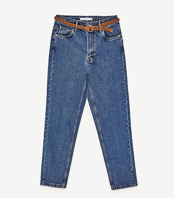 Zara High-Rise Mom-Fit Jeans With Belt