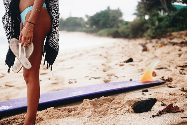 On Victoria Vergara:Reef Teal Core Solids Thong Bikini Bottom ($39) andDowntown Truss Sandals ($30).