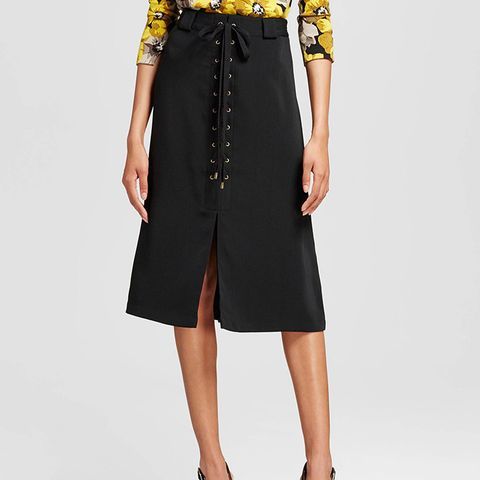 Lace-Up A-Line Skirt