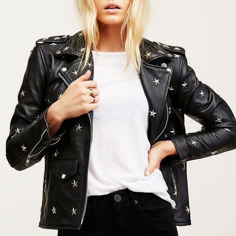 Star-Studded Leather Jacket