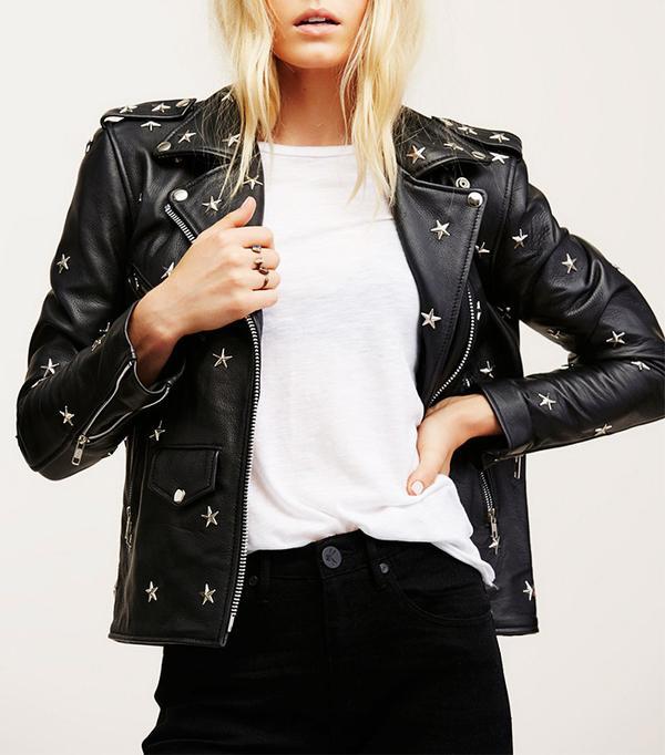 Free People Star-Studded Leather Jacket