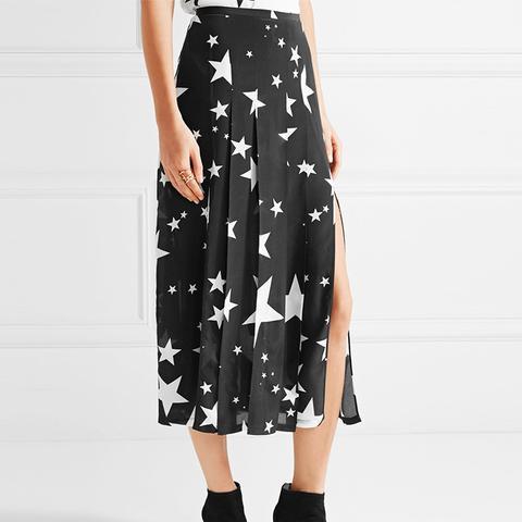 Georgia Pleated Printed Silk Midi Skirt