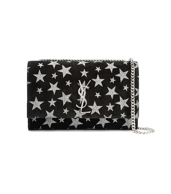 Saint Laurent Monogramme Kate Glittered Suede Shoulder Bag