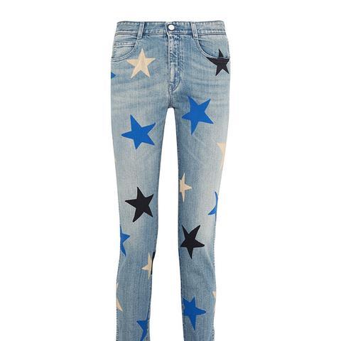 Printed Mid-Rise Straight-Leg Jeans